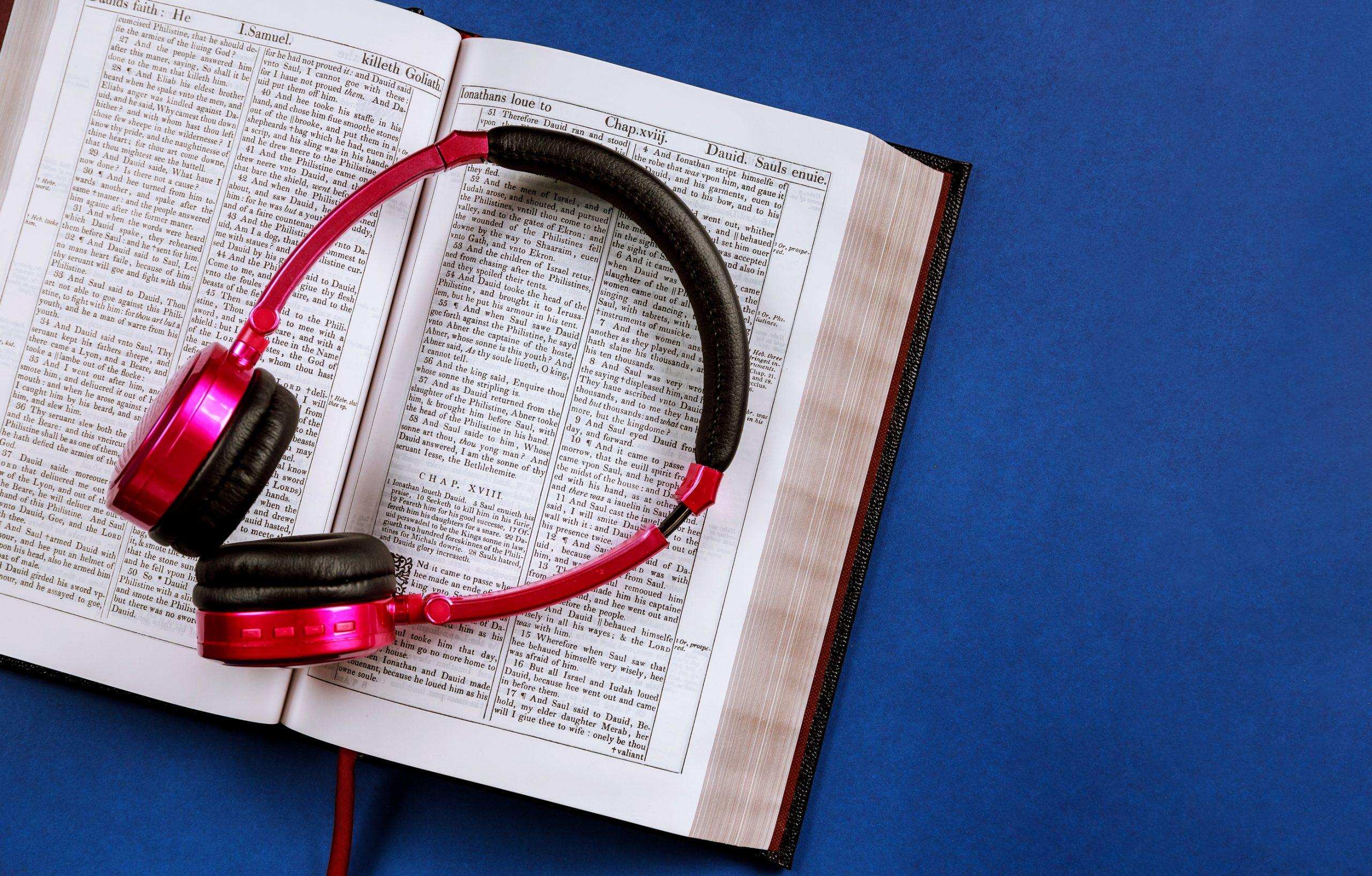 Bible with headphones